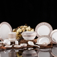 红叶 餐具套装碗碟56头骨瓷景德镇陶瓷家用欧式 伊丽莎白