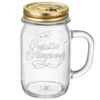 波米欧利(Bormioli Rocco)意大利进口无铅玻璃杯公鸡杯牛奶杯带把带盖水杯485mL