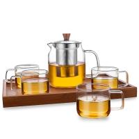 绿珠lvzhu 玻璃茶壶套装一壶四杯一茶盘 700ml居家办公 高硼硅耐热玻璃泡花草茶壶Q723