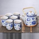 洁雅杰茶具套装整套陶瓷中式茶具7件套(1茶壶+6茶杯)提梁大容量茶具套装 青花