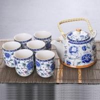 潔雅杰茶具套裝整套陶瓷中式茶具7件套(1茶壺+6茶杯)提梁大容量茶具套裝 青花