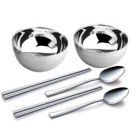 路卡酷(LUCUKU)304不锈钢饭碗筷子勺子餐具六件套 尊享碗筷勺礼盒装