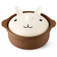 贝瑟斯 萌厨系列 可爱韩式陶瓷汤煲 1.2L电磁平锅砂锅石锅 小兔