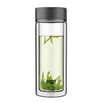 富光 晶瑞 双层玻璃 透明带盖 男女士通用商务水杯子 灰色