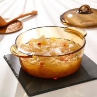 乐美雅法国进口琥珀锅玻璃直烧锅汤锅耐高温2L