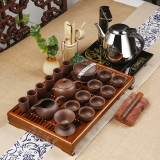 常生源 茶具套装 整套紫砂功夫茶具 三合一电热炉 柯木实木茶盘 茶缘如意紫砂套装