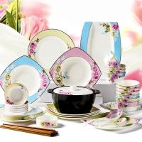 亿嘉IJARL 时尚陶瓷韩式方形碗碟套装56头餐具套装 月贵纷菲