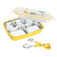 美厨(maxcook)304不锈钢饭盒 餐盘学生饭盒 分格带盖防烫 MC7775 带勺子叉子