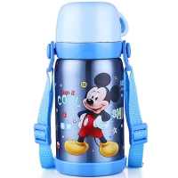 迪士尼 Disney 保温杯 儿童不锈钢真空水杯子男女学生大容量畅饮便携保温壶 600ML 米奇蓝