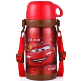 迪士尼 Disney 保温杯 儿童不锈钢真空水杯子男女学生大容量畅饮便携保温壶 600ML 汽车红