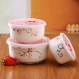 瓷魂 景德镇陶瓷韩式饭碗泡面碗带盖微波炉专用保鲜碗三支套装 秋芙