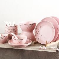佳佰 餐具套装樱花语系列碗碟套装18头套装餐具(粉)