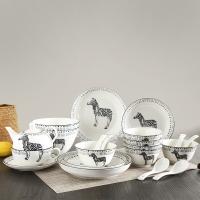 佳佰 餐具套装斑马拾趣系列碗碟套装21头套装餐具