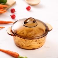 乐美雅法国进口琥珀锅玻璃直烧锅汤锅耐高温1L