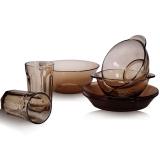 艾格莱雅Aglaia 无铅钢化玻璃法式餐具套装7件套 康馥系咖啡色 碗盘杯沙拉面汤儿童情侣家庭礼品