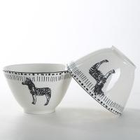 佳佰 碗斑马拾趣系列6.2英寸斜身陶瓷碗套装2件套