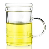一屋窑 耐高温玻璃杯茶具 带盖带滤网玻璃花茶杯 350ml