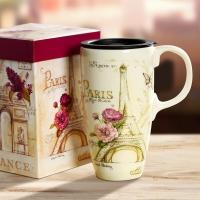 爱屋格林(Evergreen)创意车载马克杯带盖礼盒装手绘情侣咖啡杯陶瓷杯子办公室水杯3LTM4160L