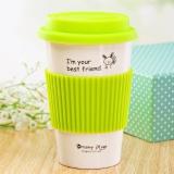 瓷魂 创意陶瓷情侣咖啡马克杯带盖随手水杯子 绿色兔子