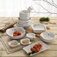 樱之歌日式釉下彩陶瓷碗22头餐具套装