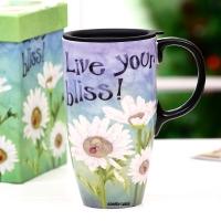 爱屋格林(Evergreen)创意车载马克杯带盖礼盒装手绘情侣咖啡杯陶瓷杯子办公室水杯3LTM5233BL