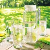 乐美雅(Luminarc)法国弓箭玻璃杯凉水壶果汁杯水杯八角水1.1L水具五件套 G6262