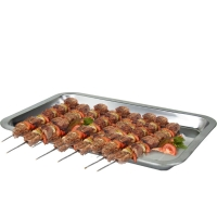 拜杰(Baijie)不銹鋼托盤 燒烤托盤 食物托盤 21*31*2