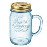 波米欧利(Bormioli Rocco)意大利进口无铅玻璃杯公鸡杯带把带盖水杯485mL蓝色