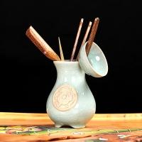尚帝(shangdi)陶瓷茶道六君子套装实木茶道茶具配件鸡翅木茶道组 白虎哥窑茶道
