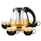 紫丁香 1.5L耐熱玻璃茶壺不銹鋼過濾內膽大容量茶具功夫茶套裝WJ74