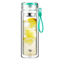 富光 糖果色双层带茶隔 男女士创意便携玻璃水杯 320ml 薄荷绿(WFB1012-320)