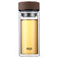 富光 男女士带茶隔 便携创意双层泡茶玻璃水杯 500ml 咖啡 (WFB1020-500)