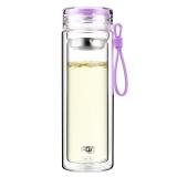 富光 糖果色双层带茶隔 男女士创意便携玻璃水杯 320ml 浅紫色(WFB1012-320)