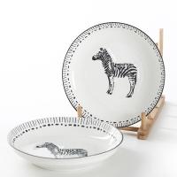 佳佰 盘子斑马拾趣系列8英寸美康陶瓷饭盘套装2件套