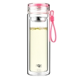 富光 糖果色双层带茶隔 男女士创意便携玻璃水杯 320ml 樱花粉(WFB1012-320)