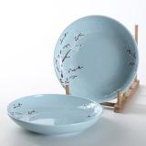 佳佰 盘子樱花语系列7英寸露珠陶瓷饭盘套装2件套(蓝)