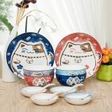 雅诚德arst陶瓷卡通时尚创意招财纳福家用釉下彩盘碗碟14头餐具套装礼盒