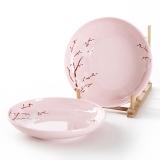 佳佰 盘子樱花语系列7英寸露珠陶瓷饭盘套装2件套(粉)