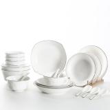 佳佰 餐具套装雅致系列陶瓷碗碟套装21头套装餐具