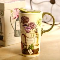 爱屋格林Evergreen马克杯 咖啡杯 带盖陶瓷杯子 星巴克礼盒装水杯 3CTM5117L