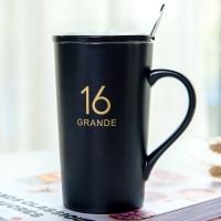 瓷魂 创意礼品陶瓷马克杯情侣咖啡杯牛奶杯带盖带勺办公杯水杯子 16盎司亚光黑