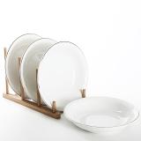 佳佰 盘子雅致系列7英寸浮雕反边陶瓷饭盘套装4只装