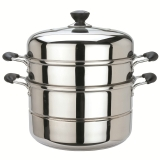 美厨(maxcook)二层蒸锅 不锈钢复底26cm MCZ-26(蒸煮两用 可用电磁炉)