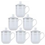 洁雅杰茶杯套装陶瓷办公茶杯(350ml)带盖水杯6只装 银河杯