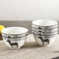 佳佰 碗斑马拾趣系列4.5英寸直口陶瓷碗套装6件套