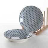 佳佰 盘子满天星系列8英寸和韵陶瓷饭盘套装2件套