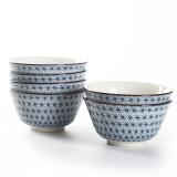 佳佰 碗满天星系列4.5英寸和韵陶瓷饭碗套装6件套