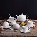 瓷工巧匠 歐式陶瓷咖啡杯套裝碟勺 純白浮雕碟勺壺奶盅糖缸套裝 4杯4勺4碟15件裝