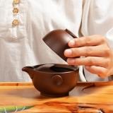 尚帝(shangdi)一壶一杯套装紫砂茶具单人旅行 个人泡茶朱泥紫砂快客杯