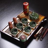 百鸿 整套功夫茶具陶瓷茶壶冰裂釉茶具套装实木茶盘茶海托盘 花开富贵7头绿冰裂套装
